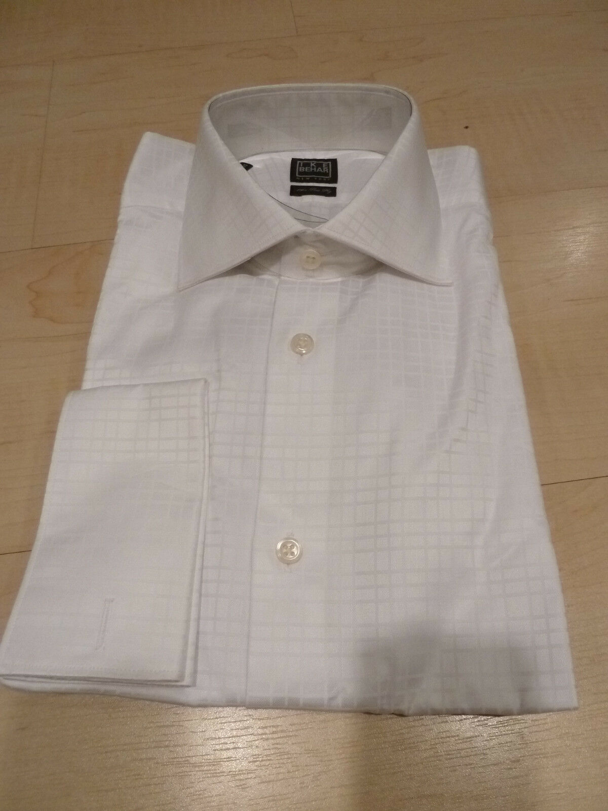 NEW 150+ IKE BEHAR  Herren Dress SHIRT 15.5 34 35 Weiß 100% Cotton FC 120s 2-ply