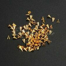 100pcs 6mm *4mm Gold HOTFIX CONE Spike STUDS, PUNK, DIY FASHION Gems Nail Art