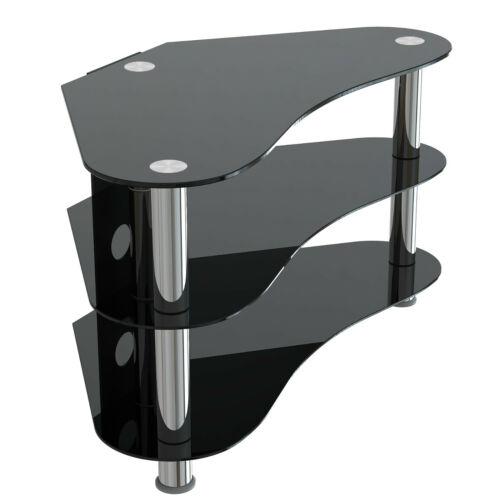"3 Shelves Corner Unit Black Glass TV Stand for LCD 27/"" 32/"" 35/"" 37/"" 39/"" 40/"" 42/"""