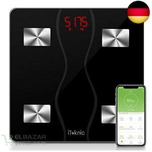 iTeknic-Digital-Personenwaagen-Koerperfettwaage-Digitale-Koe-Schwarz-Schwarz