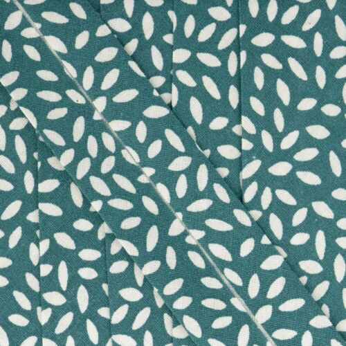 La Stephanoise 27mm Cotton Bias Binding Per Metre Leaves On Teal Blue