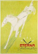Original Rare 1946 Vintage ETERNA WATCH Swiss Horse Racing Poster by CARIGIET