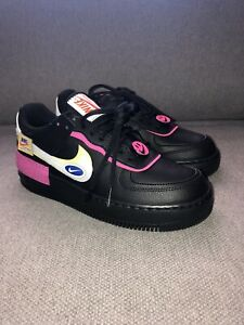 Memorizar pesado resbalón  NWB Nike Air Force 1 Shadow Black Pink Patches CU4743-001 Women's Size 9 |  eBay