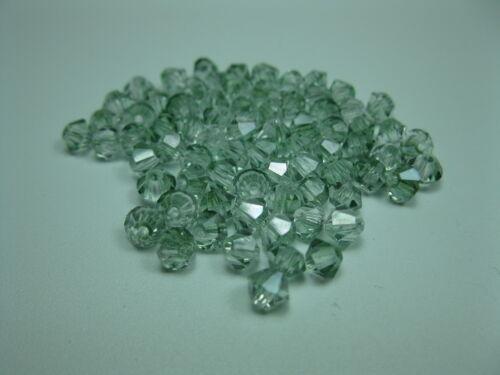 40 cristal esmerilado perlas doppelkegel 4mm verde-claro 9784