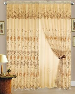 Image Is Loading Set Of 2 Melissa Embroidered Curtains Panels With