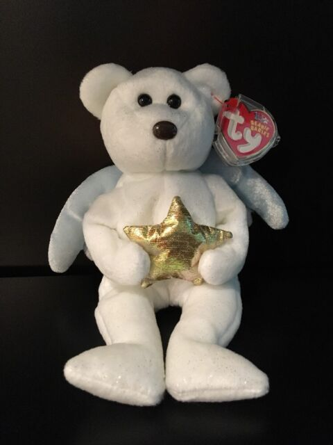d1a9a01f9c1 Ty Beanie Babies Gold Star 2003 Retired White Bear w  Tag Protector Angel  Wings