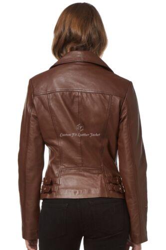 Style Marron Veste Napa 2588 véritable dames Biker Italian Souple Brando pour en cuir Yp0qwpFB