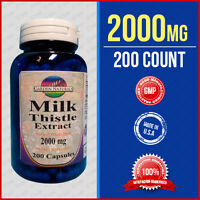 Max Strength Milk Thistle 1000mg + 1000 = 2000mg 2x Stronger 200 Caps Made Usa