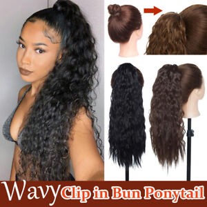 Details About No Stress 100 Natural Clip In Bun Updo Long Ponytail Wavy Curly Hair Extensions
