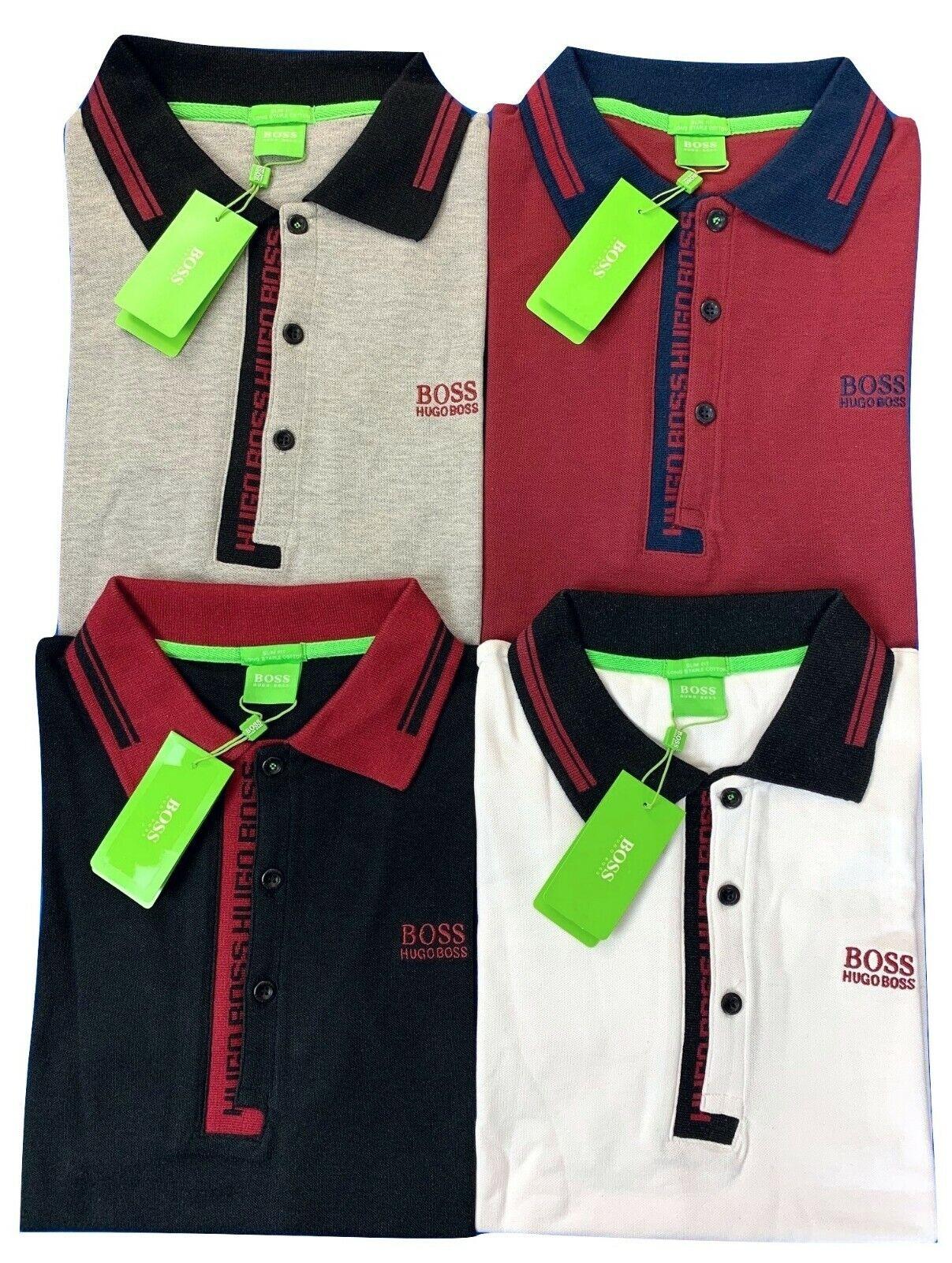 Regular Fit Grey Hugo Boss Men's Paule 4 Collar Detail S//S Cotton Polo Shirt
