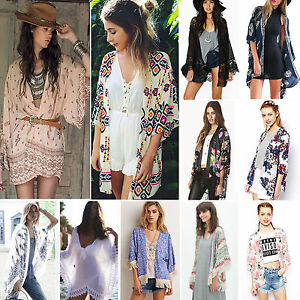 8e8083e06cb9f Boho Women Floral Long Jacket Kimono Cardigan Cape Beach Tops Bikini ...