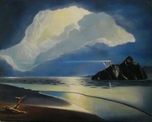 Paysage Marin Surrealiste Peinture Huile Sur Toile Painting Seascape Ebay