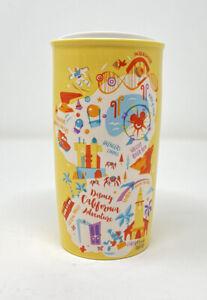 Disney California Adventure Starbucks Yellow Ceramic Tumbler Mug To Go Cup