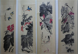 RARE-Chinese-100-Hand-Painting-4-Scrolls-Lotus-and-Animals-034-By-Qi-baishi-K