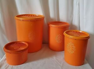 Set-4-Vintage-Tupperware-Orange-Canisters-with-Lids-805-809-811-1297