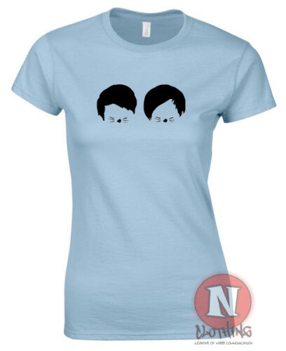 Dan and Phil cats whiskers design ladies fitted t-shirt danisonfire vloggers