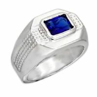 Mans Ring Rhodium Sapphire Blue Color Synthetic Spinel Ring