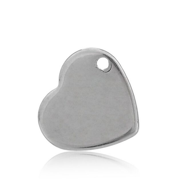 10PCs Stainless Steel Heart Pendant Charm Jewelry Findings 1.1x1cm
