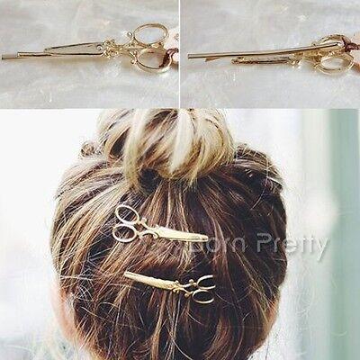 1Pc Delicate Scissors Shape Hair Clip Gold Silver Hair Pin Women Hair Accessory