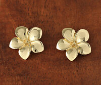 14k Solid Gold Plumeria Flower Post Earrings Hawaiian Heirloom Jewelry