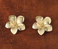 14k Solid Gold Plumeria Flower Post Earrings Hawaiian Heirloom Jewelry