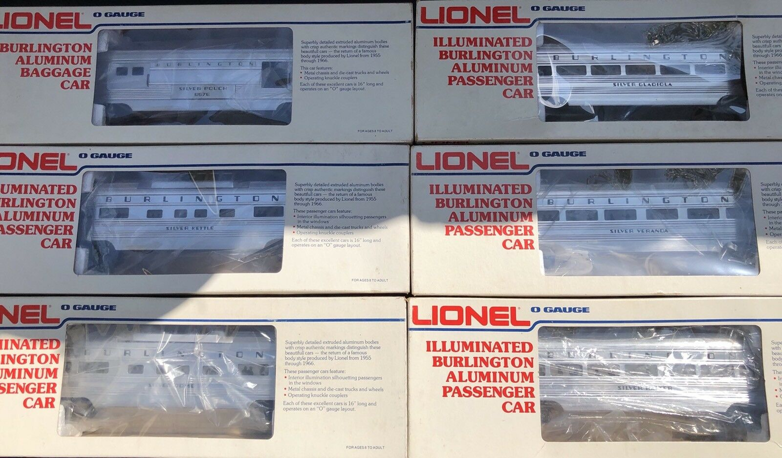 LIONEL BURLINGTON BURLINGTON BURLINGTON ALUMINUM 6 CAR PASSENGER SET 036648