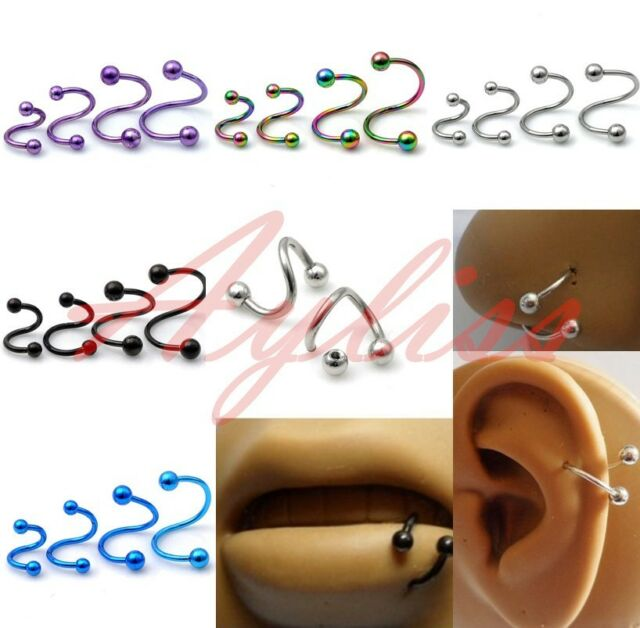 16G Stainless Steel Twist Nose Lip Eyebrow Cartilage Ring Earring Piercing