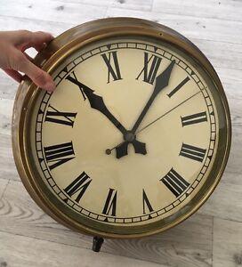 LargeOriginalVintage Industrial Factory Brass Wall Clock