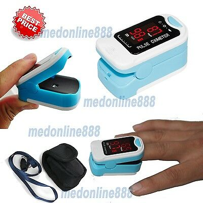 NEW LED Finger Tip Pulse Oximeter SPO2 PR Blood Oxygen Heart Rate Monitor+ Pouch