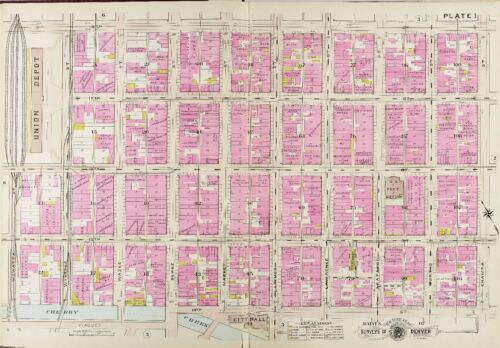 1905 DENVER COLORADO UNION DEPOT /& CITY HALL 14TH ST 18TH ST BAIST ATLAS MAP