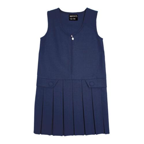 Girls School Pinafore Box Pleated Skirt School Uniform Elasticated Waist Dress