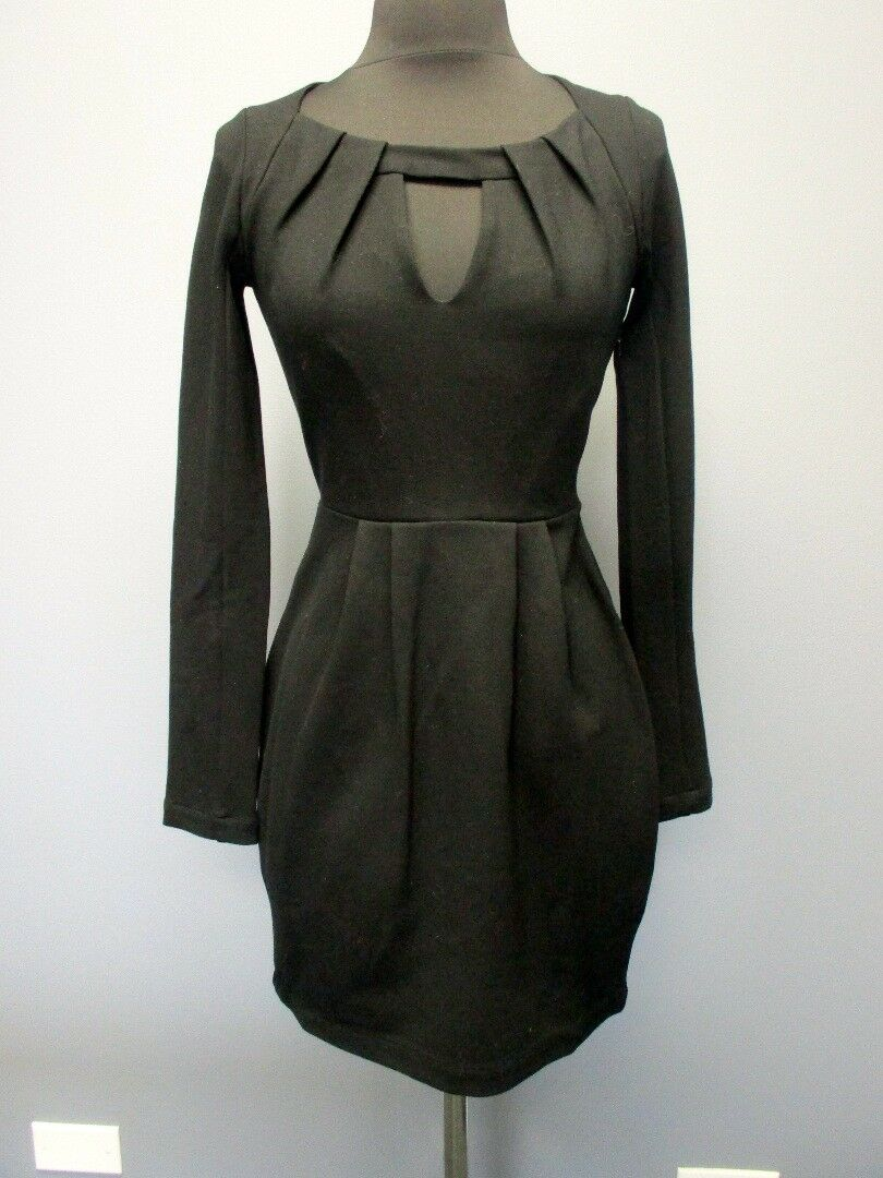 FRENCH CONNECTION schwarz Long Sleeves Solid Front Cutout Dress NWT Sz 0 EE5218