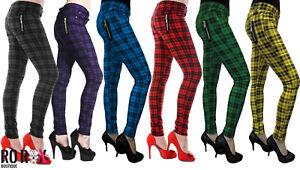 New-Women-039-s-Banned-Plaid-Check-Tartan-Emo-Punk-Skinny-Pants-Trousers-Size-26-40