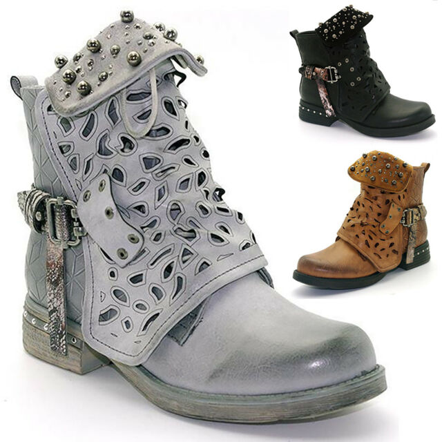 Womens Winter Chunky Studded Ankle Boots Chelsea Punk Buckle Biker Casual Shoes