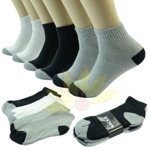 3 Pairs 2 TONES Ankle//Quarter Crew Mens Socks Cotton Low Cut Size 9-11 10-13