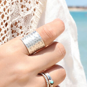 Sterling-Silver-Ring-925-Genuine-Handmade-Extra-Wide-Band-Cigar-Chic-Size