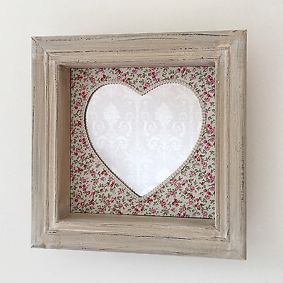 SHABBY CHIC HEART MIRROR BOX FRAME SHELF UNIT VINTAGE DITSY FABRIC WALL MOUNTED
