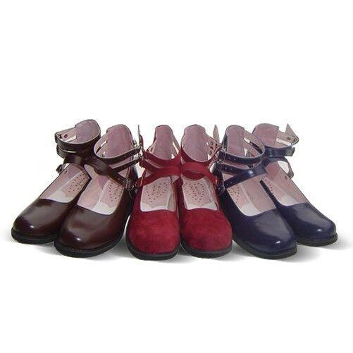 Dunkel blau rot braun lolita Schuhes halb-Schuhe barock Ballerinas victorian neu