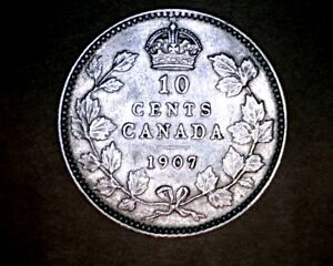 1907  Canadian Dime   RARE  ***GREAT DETAIL COLLECTOR GRADE***
