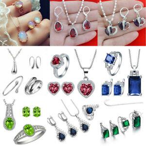 Women-925-Silver-Gemstone-Topaz-Pendant-Necklace-Rings-Earrings-Jewelry-Set-Gift