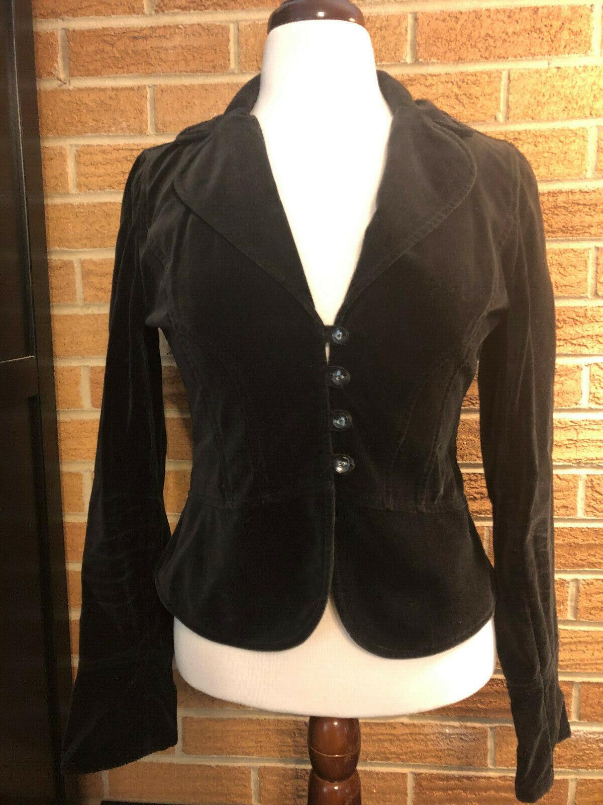 Ann Taylor LOFT sz 6 Black Cropped Blazer Velvet/Velour type Steampunk Cosplay
