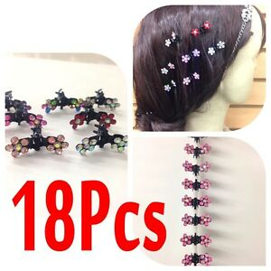 6-12-18PC-Lots-Girls-Sweet-Rhinestone-Crystal-Flower-Mini-Hair-Claws-Clips-Clamp
