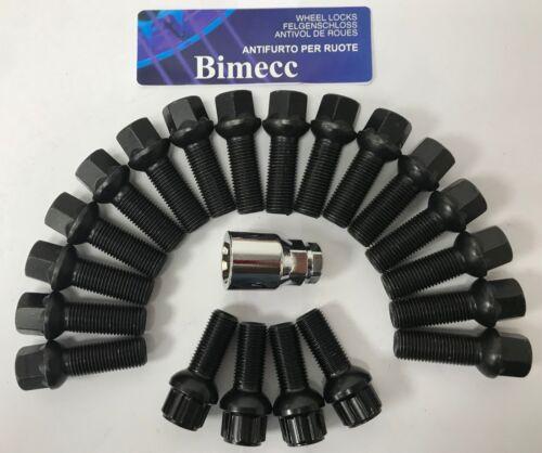 4 Cerraduras 30mm para VW T5 T6 T28 T30 16 X M14X1.5 Radio Aleación Pernos De Rueda Negro