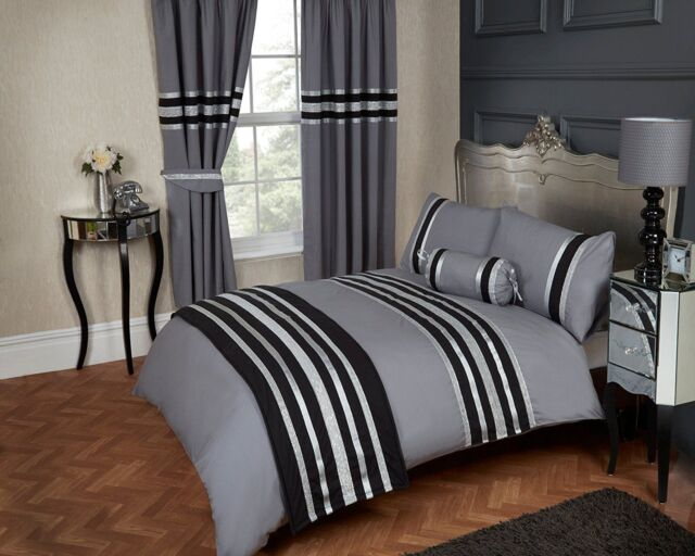 200 T/C 100% COTTON GREY SILVER & BLACK GLITZ DUVET COVER BED SET OR CURTAINS