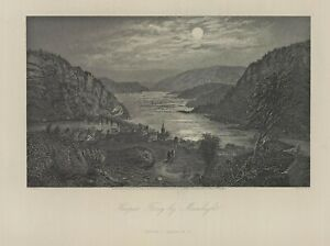 """1874 engraving """"Harper's Ferry by Moonlight"""""""