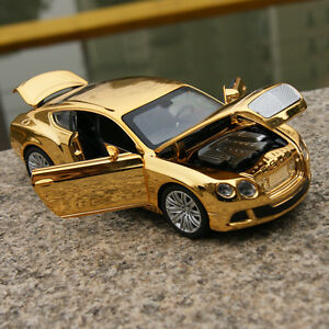 Bentley-GT-W12-Model-Car-1-32-Sound-amp-Light-Alloy-Diecast-Golden-Yellow-Plated-Toy