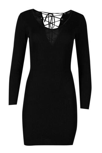 Womens Ladies Knit Deep V Plunge Neck Lace Tie Up Deep Back Bodycon Mini Dress