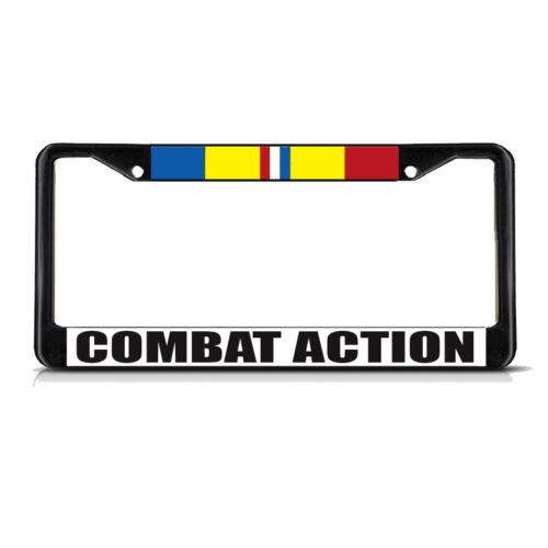 COMBAT ACTION MILITARY Black Metal Heavy License Plate Frame Tag Border