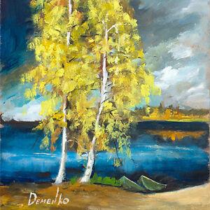 "Natalia Demenko Birch Tree River Landscape Autumn Cloud oil painting 8"" Fine Art"