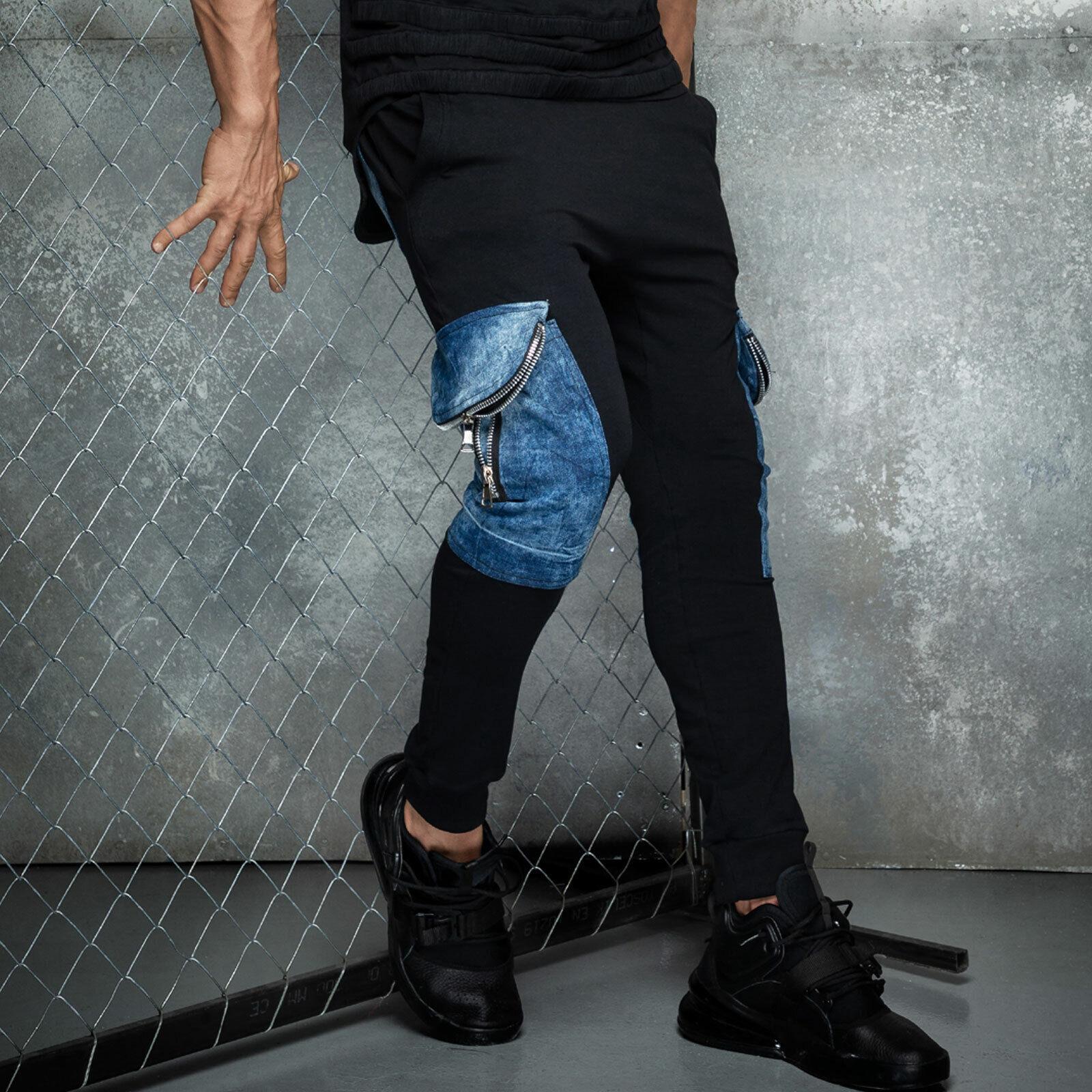 By Alina Mexton Herren Boyfriend Baggy Jogginghose Trainingshose Jeans S-XL